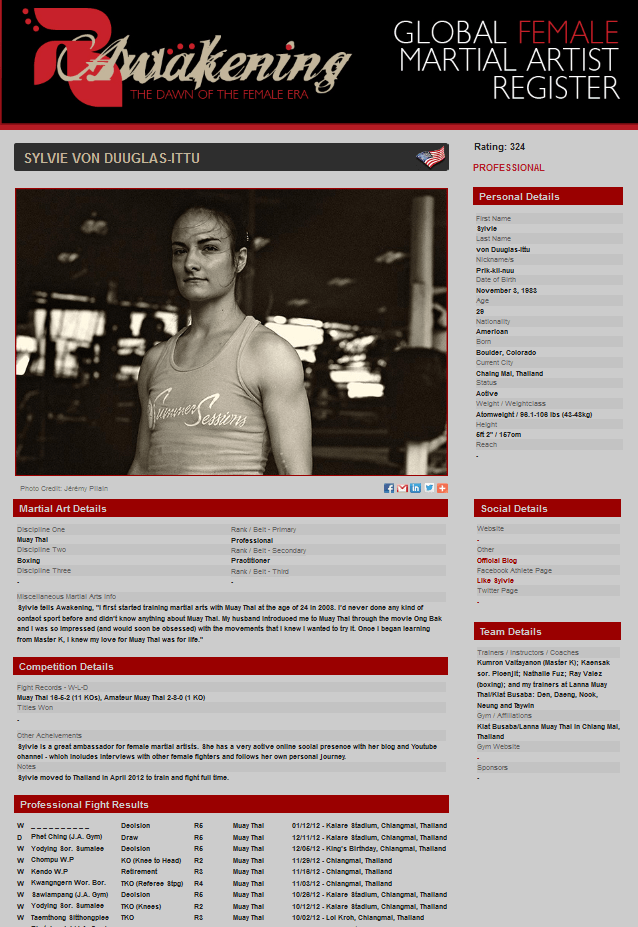 R-Awakening Muay Thai Profile - Sylvie von Duuglas-Ittu