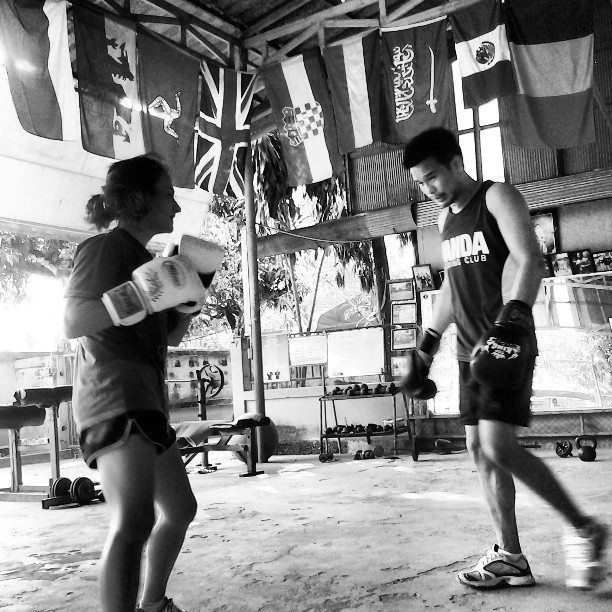 between sparring rounds with Neung