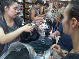 Shopping for a Motorcycle Helmet - Chiang Mai