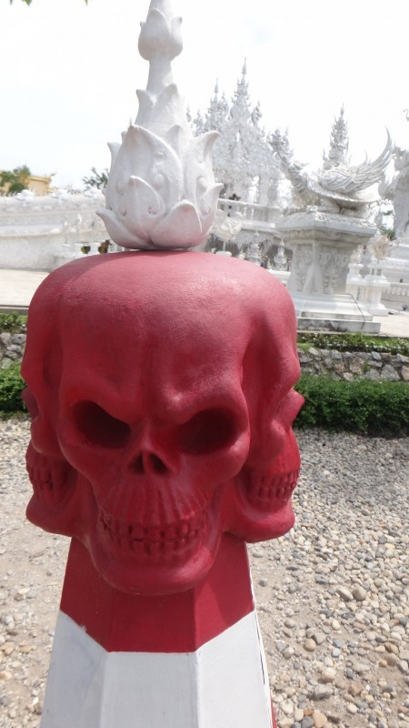 Skull on Traffic Cone - Wat Rong Khun The White Temple
