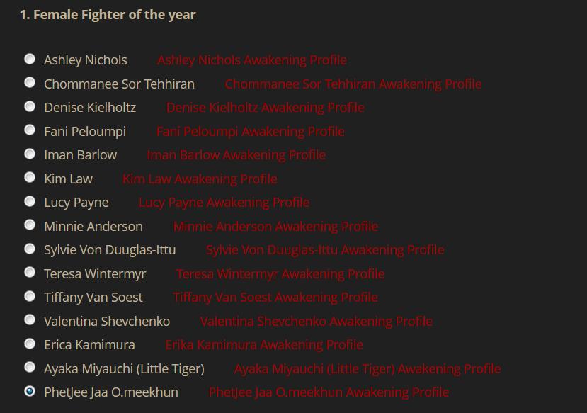 Awakening Female Fighter of the Year