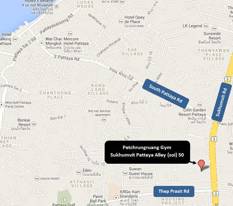 Map of Petchrungruang Gym - Sukhumvit Pattaya Alley soi 50 - Muay Thai