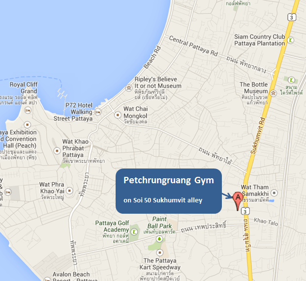 Petchrungruang Gym Map - Pattaya Muay Thai