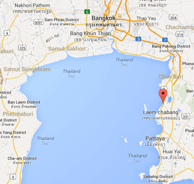 PhetJee Jaa fighting in Siracha Thailand map