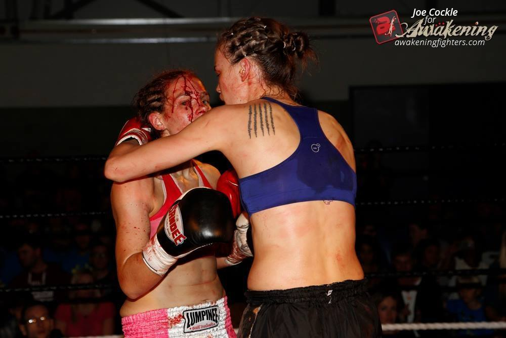 Victoria Lomax - bloodied face - War Face - vs Lucy Payne