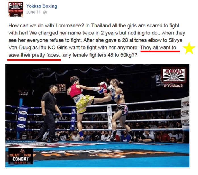 Yokkao Boxing - sexism female muay thai - Facebook