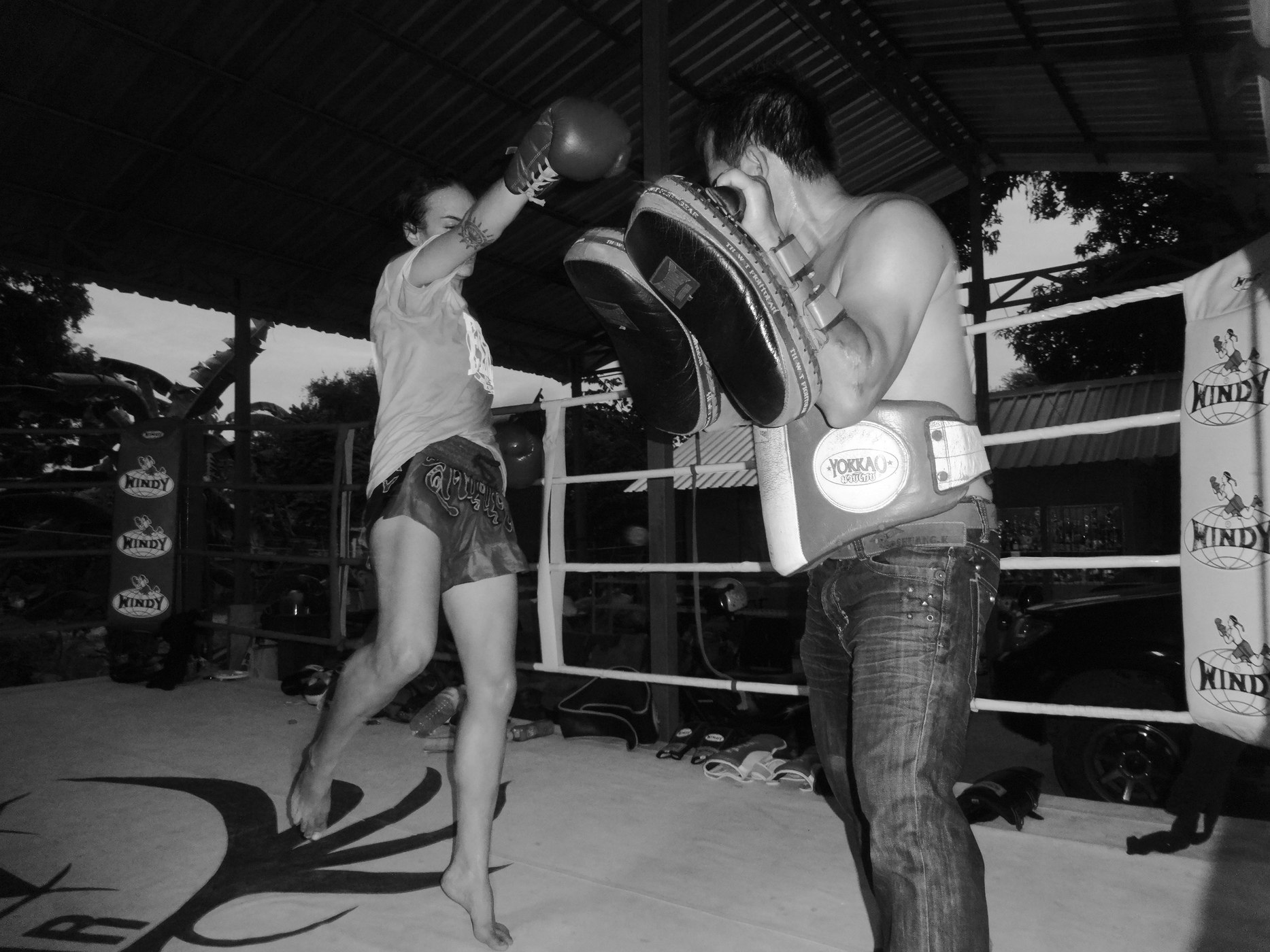 Sylvie at O Meekhun Gym in Pattaya - Muay Thai Pad Work