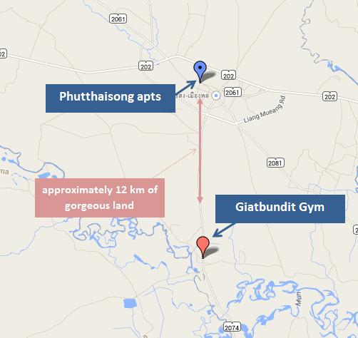 Map Giatbundit Gym - Phutthaisong, Buriam - Isaan Muay Thai
