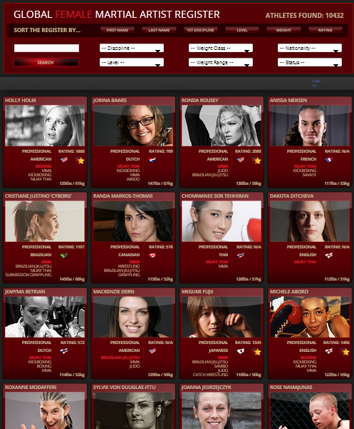 click to see the largest filterable female fighter database in the world