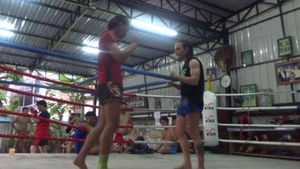 Sylvie Clinching with Sawsing at Dejrat Gym