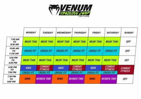 Venum Training Camp Schedule - Pattaya