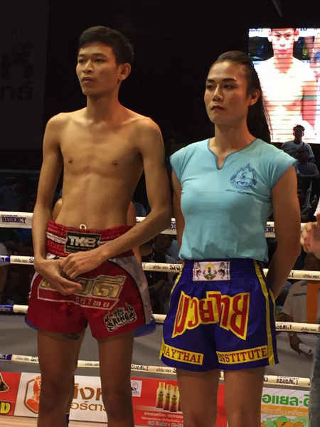 Angie Petchrungruang promo - first kathoey fighter at Lumpinee - and her opponent